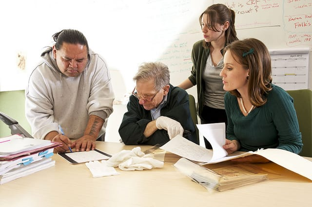 Anthropology professor Victor Golla works with students to produce a manuscript of the Wailaki language.